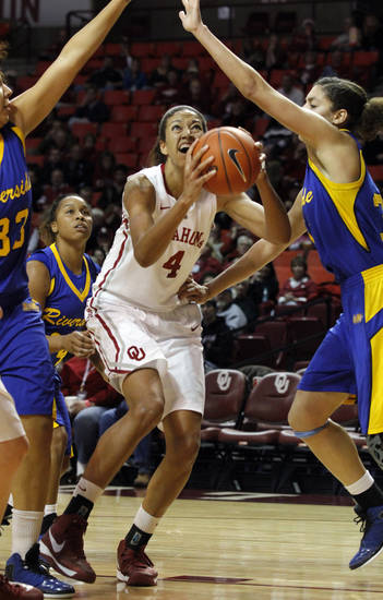 Oklahoma's Nicole Griffin (4) shoots as the University of Oklahoma Sooners (OU) play the Riverside Highlanders in NCAA, women's college basketball at The Lloyd Noble Center on Thursday, Dec. 20, 2012  in Norman, Okla. Photo by Steve Sisney, The Oklahoman