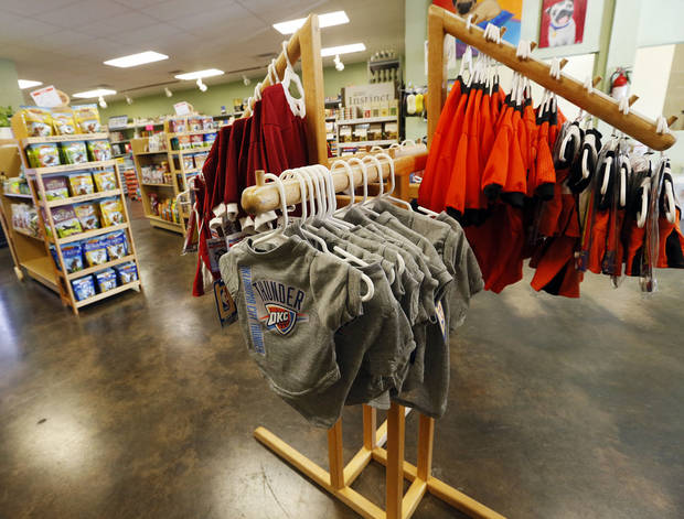 Merchandise including OU, OSU and Thunder shirts are available for pets at A1 Pet Emporium. Photo by Nate Billings, The Oklahoman <strong>NATE BILLINGS</strong>