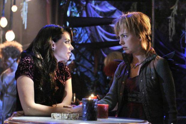 """DEFIANCE -- """"A Well Respected Man"""" Episode 104 -- Pictured: (l-r) Mia Kirshner as Kenya, Brittany Allen as Tirra -- (Photo by: Ben Mark Holzberg/Syfy))"""