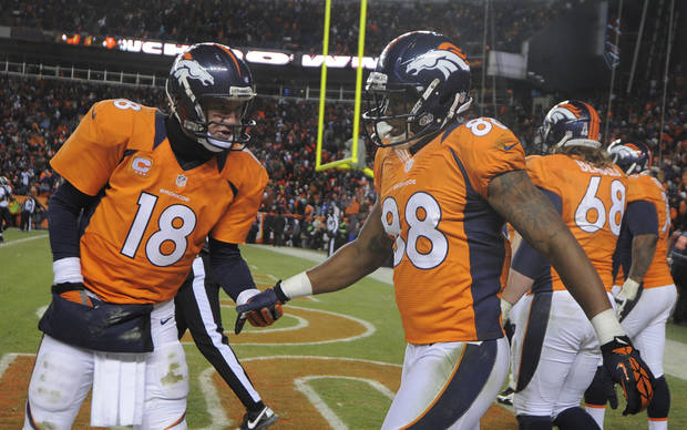Denver Broncos quarterback Peyton Manning, left, congratulates wide receiver Demaryius Thomas after Thomas scored a touchdown against the Baltimore Ravens in the fourth quarter of an AFC divisional playoff NFL football game, Saturday, Jan. 12, 2013, in Denver. (AP Photo/Jack Dempsey)