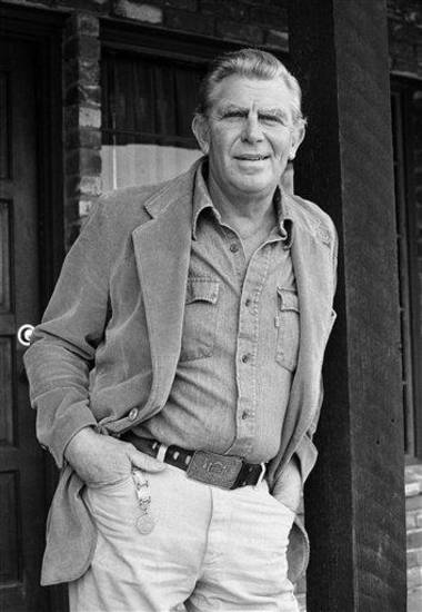 FILE - This Jan. 31, 1983 file photo shows actor Andy Griffith posing in Los Angeles to promote his upcoming CBS-TV film, &quot;Murder in Coweta County&quot;.  Griffith, whose homespun mix of humor and wisdom made &quot;The Andy Griffith Show&quot; an enduring TV favorite, died Tuesday, July 3, 2012 in Manteo, N.C. He was 86. (AP Photo/Wally Fong, file)