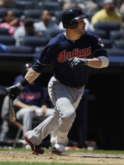 Cleveland Indians' Jason Kipnis hits an RBI single during the fifth inning of a baseball game against the New York Yankees Wednesday, June 27, 2012, in New York. (AP Photo/Frank Franklin II)