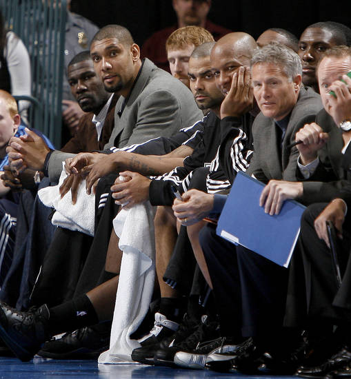 San Antonio's Tim Duncan sits on the bench during the NBA basketball game between the Oklahoma City Thunder and the San Antonio Spurs at the Ford Center in Oklahoma City, Wednesday, January 13, 2010. Photo by Bryan Terry, The Oklahoman