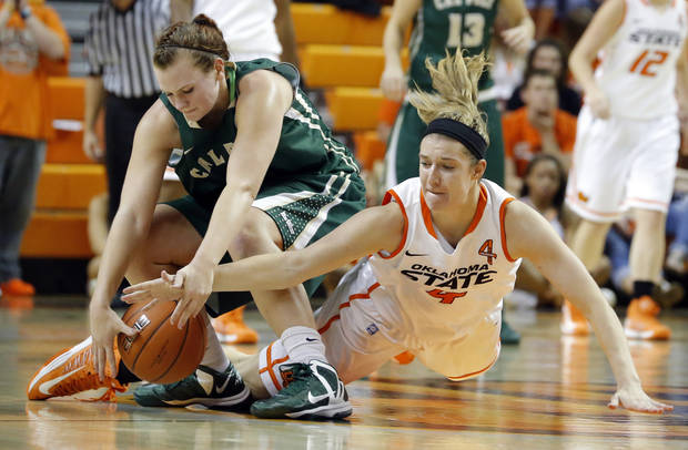 Oklahoma State's Liz Donohoe (4) and  Cal Poly's Kayla Griffin (1) dive for a loose ball during the women's college basketball game between Oklahoma State and Cal Poly at  Gallagher-Iba Arena in Stillwater, Okla., Friday, Nov. 9, 2012. Photo by Sarah Phipps, The Oklahoman