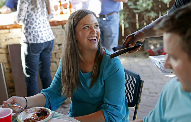 Cassidy Smith is served short ribs during the Open Flame event at American Propane in Oklahoma City, Thursday, May 16, 2013. Photo by Bryan Terry, The Oklahoman <strong>Bryan Terry - THE OKLAHOMAN</strong>