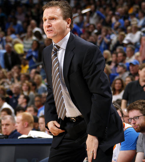 Oklahoma City coach Scott Brooks shouts during an NBA basketball game between the Oklahoma City Thunder and the Los Angeles Lakers at Chesapeake Energy Arena in Oklahoma City, Thursday, Feb. 23, 2012. Photo by Bryan Terry, The Oklahoman