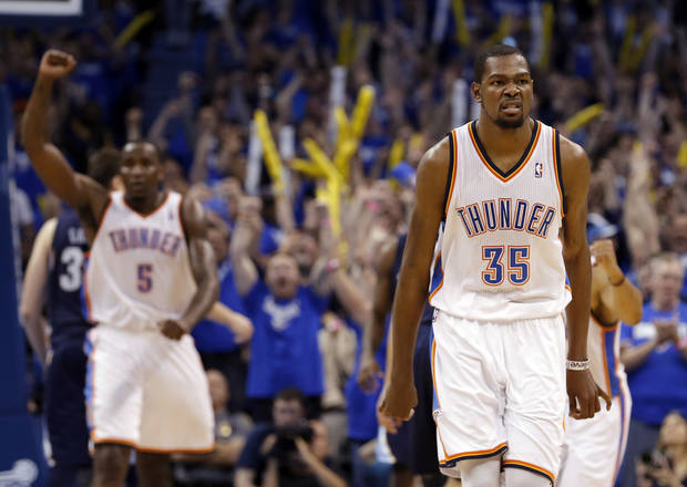 Oklahoma City's Kevin Durant (35) celebrates his go ahead shot in the finals seconds of Game 1 in the second round of the NBA playoffs between the Oklahoma City Thunder and the Memphis Grizzlies at Chesapeake Energy Arena in Oklahoma City, Sunday, May 5, 2013. Photo by Sarah Phipps, The Oklahoman