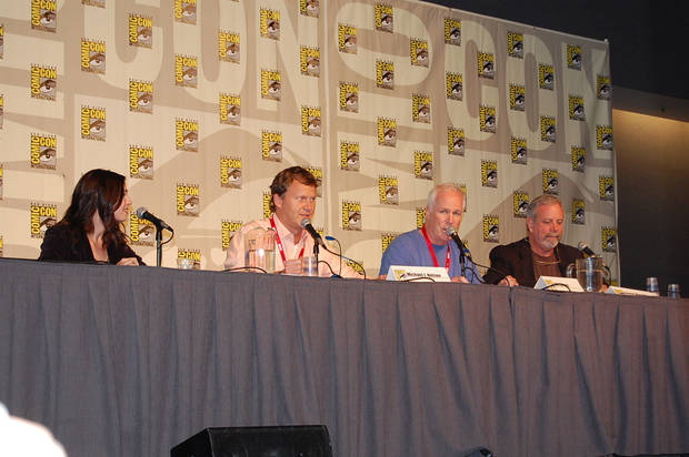 Veronica Belmont, left, with the Rifftrax crew of Michael J. Nelson, Bill Corbett and Kevin Murphy at Comic-Con. (Photo by Annette Price.)