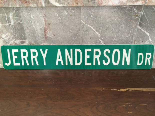 The street sign for Jerry Anderson Drive in Murfreesboro, Tenn. (Photo provided)