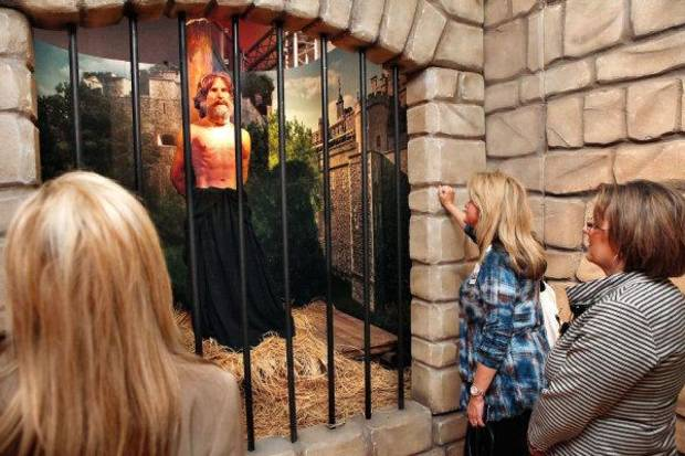 "Three women watch and listen to an animatronic character describe his role in connection to the history of the Bible as partof the ""Passages"" traveling exhibit at the Oklahoma City Museum of Art in downtown Oklahoma City. Photo by Jim Beckel, The Oklahoman <strong>JIM BECKEL</strong>"