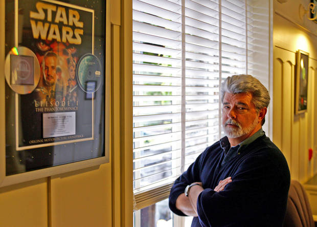 "FILE - In this May 4, 2005 file photo, George Lucas, director of ""Star Wars Episode III: Revenge of the Sith,"" poses at Skywalker Ranch in San Rafael, Calif. The film is the last in Lucas' series of ""Star Wars"" movies. There�s no mistaking the similarities. A childhood on a dusty farm, a love of fast vehicles, a rebel who battles an overpowering empire, George Lucas is the hero he created, Luke Skywalker. (AP Photo/Eric Risberg, File)"