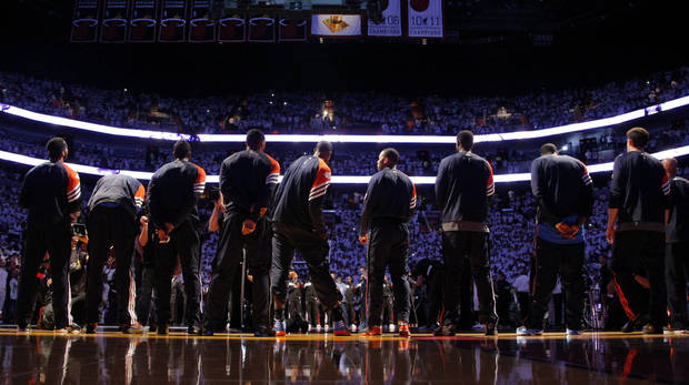 The Thunder line up before Game 3 of the NBA Finals between the Oklahoma City Thunder and the Miami Heat at American Airlines Arena, Sunday, June 17, 2012. Photo by Bryan Terry, The Oklahoman