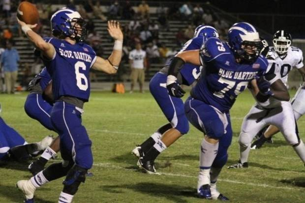 Ty Darlington, right, blocking for his brother Zack while both were players at Apopka (Fla.) High. Zack Darlington is back on the field at the University of Nebraska after his senior season at Apopka was cut short due to concussions. Photo provided.