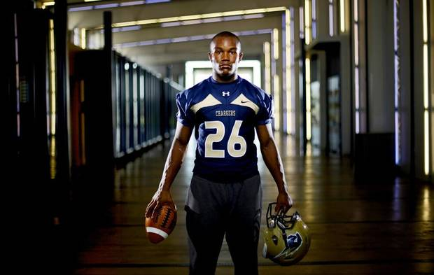 HIGH SCHOOL FOOTBALL: Heritage Hall's Barry Sanders poses for a portrait at Heritage Hall High School in Oklahoma City, Thursday, August 12, 2010.  Photo by Bryan Terry, The Oklahoman ORG XMIT: KOD