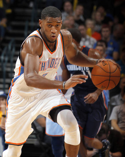 Oklahoma City's Perry Jones III (3) drives up court during the preseason NBA game between the Oklahoma City Thunder and the Charlotte Bobcats at Chesapeake Energy Arena in Oklahoma City, Tuesday, Oct. 16, 2012. Photo by Sarah Phipps, The Oklahoman