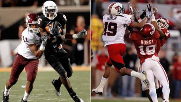 Oklahoma State and Oklahoma college football defense.