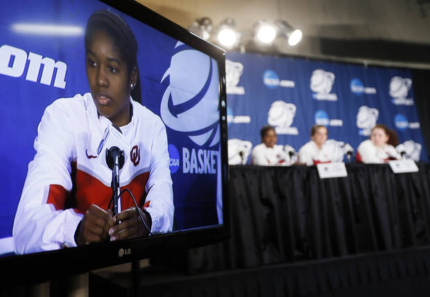 OU's Aaryn Ellenberg (3) answers a question from the media during the press conference and practice day at the Oklahoma City Regional for the NCAA women's college basketball tournament at Chesapeake Energy Arena in Oklahoma City, Saturday, March 30, 2013. Photo by Nate Billings, The Oklahoman