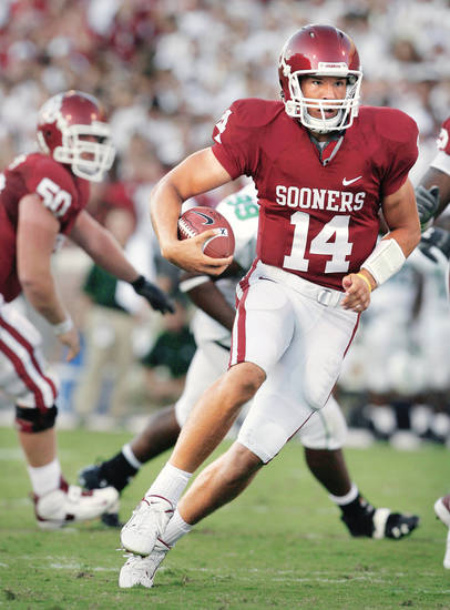 Teammates and coaches are saying OU quarterback Sam Bradford is even better this season. Photo by Steve Sisney, The Oklahoman