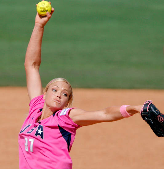 USA's Jennie Finch pitches in the fifth inning during the exhibition softball game between Team USA and Team Canada at ASA Softball Stadium in Oklahoma City, Saturday, June 7, 2008. BY MATT STRASEN, THE OKLAHOMAN