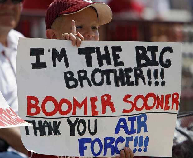 A Sooner fan supports both teams during the first half of the college football game between the University of Oklahoma Sooners (OU) and the Air Force Falcons at the Gaylord Family - Memorial Stadium on Saturday, Sept. 18, 2010, in Norman, Okla.   Photo by Chris Landsberger, The Oklahoman