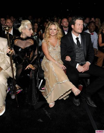 In this photo posted on Blake Shelton's Facebook, from right, Shelton, his wife Miranda Lambert and pop star Lady Gaga.