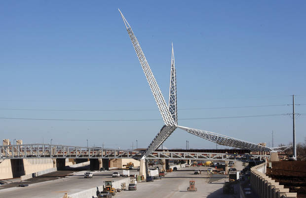 INTERSTATE 40: The Skydance Bridge under construction over the new I-40 just west of Robinson Avenue in Oklahoma City Wednesday, Dec. 21, 2011. View shot looking east from the Walker Avenue bridge. Photo by Paul B. Southerland, The Oklahoman ORG XMIT: KOD