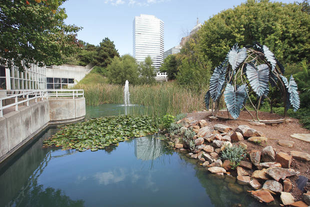 The area of Myriad Gardens where the new stage will be built with Devon TIF funds.  Photo By David McDaniel, The Oklahoman