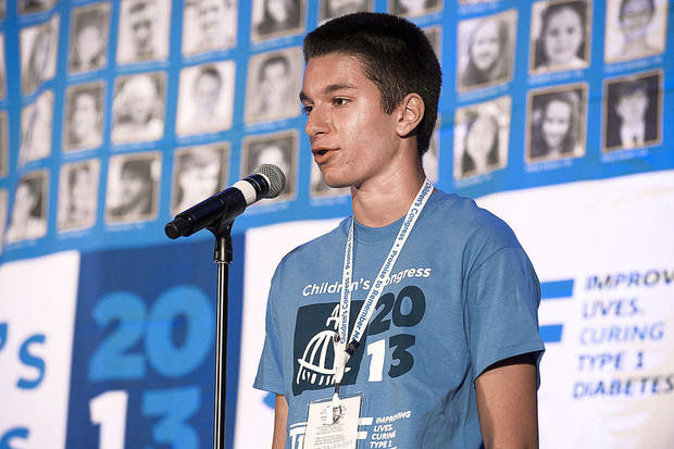Shervin Tabatabai, 15, speaks at the recent 2013 Children's Congress in Washington, D.C. PROVIDED PHOTO TAKEN BY JUVENILE DIABETES RESEARCH FOUNDATION <strong>Larry Lettera/ Camera 1</strong>