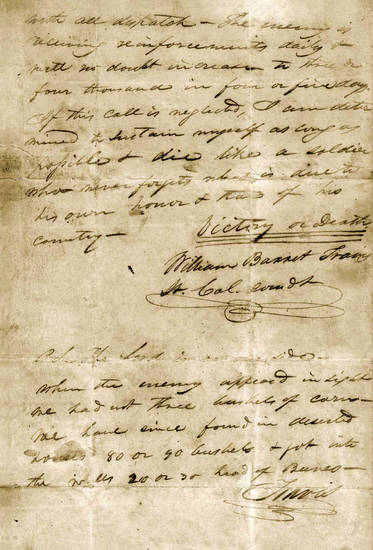 "This undated image provided by the Texas State Library and Archives Commission shows a portion of the ""victory or death"" letter written by William Barret Travis from the Alamo on Feb. 24, 1836. (AP Photo/Texas State Library and Archives Commission)"