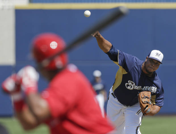 Milwaukee Brewers starting pitcher Wily Peralta throws to Los Angeles Angels' Howard Kendrick during the first inning of a spring training baseball game in Phoenix on Tuesday, March 19, 2013. (AP Photo/Chris Carlson)