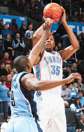 Kevin Durant and the Thunder play at Utah tonight. Oklahoma City is 3-0 against the Jazz this season.  PHOTO BY NATE BILLINGS, THE OKLAHOMAN
