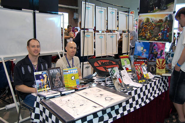 "Don Rosencrans, left, and Charles Martin are pictured at the 2012 Planet Comicon in Overland Park, Kan.  Each is a contributor to the new anthology ""Literati Presents.""  Photo by Annette Price, for The Oklahoman <strong>ANNETTE PRICE</strong>"
