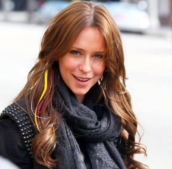 Jennifer Love Hewitt sports feather extensions.