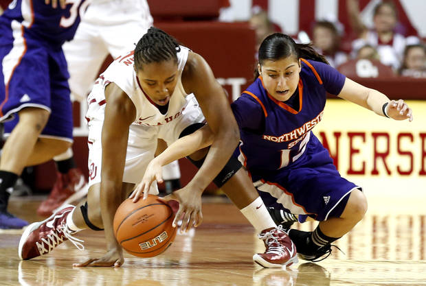Oklahoma Sooners' Jasmine Hartman (45) steals the ball from Northwestern State Lady Demons' Janelle Perez (13) as the University of Oklahoma (OU) Sooner women's basketball team plays the Northwestern State Lady Demons at the Lloyd Noble Center on Thursday, Nov. 29, 2012  in Norman, Okla. Photo by Steve Sisney, The Oklahoman