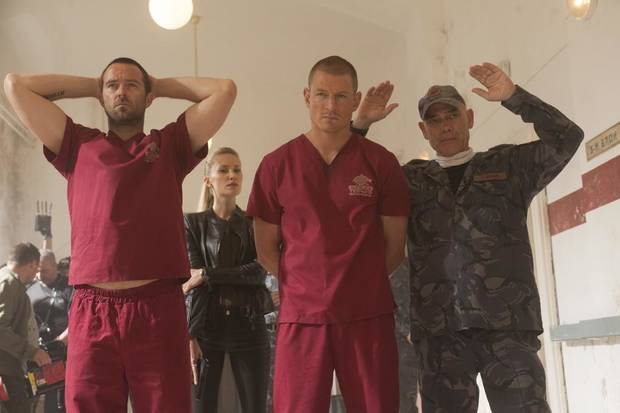 "From left to right: Sullivan Stapleton, Tereza Srbova, Philip Winchester and Peter Guiness in Cinemax's hit action series ""Strike Back."" - Photo by Liam Daniel/Cinemax"