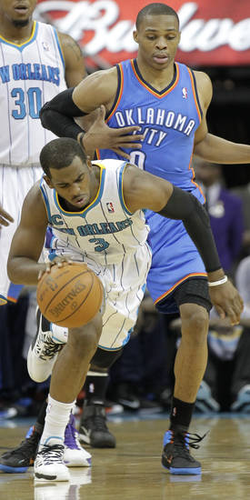 in the secpnd half of an NBA basketball game in New Orleans, Monday, Jan. 24, 2011.  The Hornets defeated the Thunder 91-89. (AP Photo/Bill Haber)