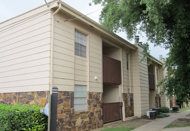 The West Pointe Apartments, at 7321 Lyrewood Lane, are shown.  PHOTO PROVIDED BY COMMERCIAL REALTY RESOURCES CO.