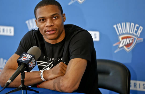 Oklahoma City Thunder's Russell Westbrook speaks to the media on Thursday, May 9, 2013 in Oklahoma City, Okla. for the first time about his season ending knee injury sustained in a first round NBA playoff game against Houston.  Photo by Chris Landsberger, The Oklahoman