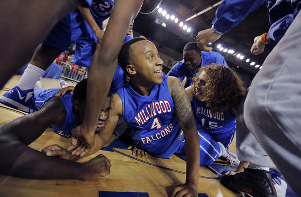 Millwood's Jaylen Edwards celebrates after the win over Okemah during the state high school basketball tournament Class 3A boys championship game between Millwood High School and Okemah High School at the State Fair Arena on Saturday, March 9, 2013, in Oklahoma City, Okla. Photo by Chris Landsberger, The Oklahoman