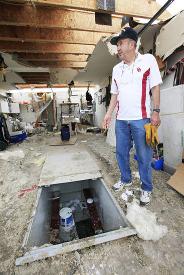 Tornado aftermath cleanup in Guthrie, Wednesday, May 25, 2011.   Richard Rice, 75,  describes riding out the tornado in his garage floor shelter when his house was hit by Tuesdays tornado. Photo by David McDaniel, The Oklahoman