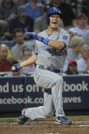 Kansas City Royals' Chris Getz reacts after fouling a ball off himself against the Atlanta Braves during the fourth inning of a baseball game, Tuesday, April 16, 2013, in Atlanta. (AP Photo/John Amis)