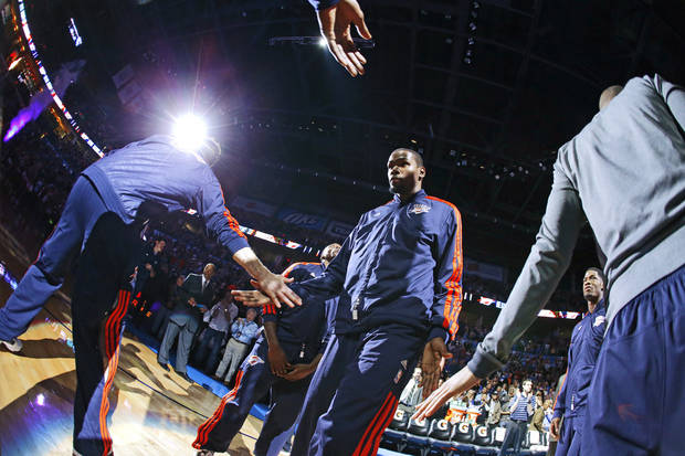 Oklahoma City's Kevin Durant is introduced before an NBA basketball game between the Oklahoma City Thunder and the Sacramento Kings at Chesapeake Energy Arena in Oklahoma City, Friday, Dec. 14, 2012. Photo by Bryan Terry, The Oklahoman