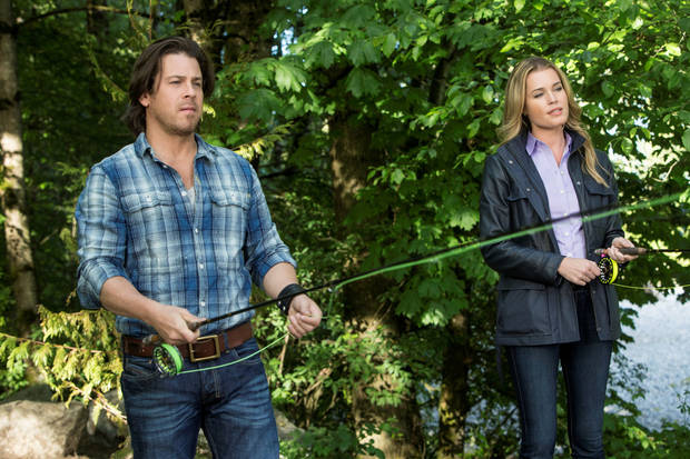 "Christian Kane and Rebecca Romijn play brother and sister in Monday's episode of the TNT show ""King & Maxwell."""
