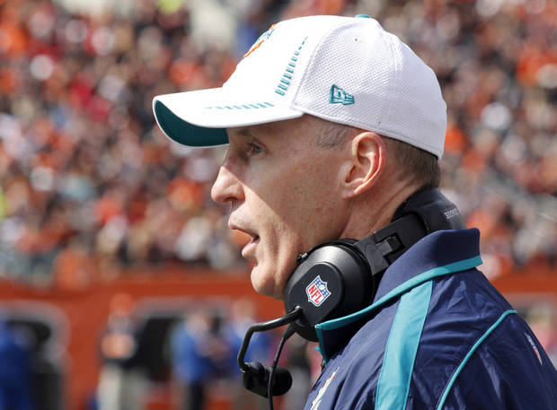 Miami Dolphins head coach Joe Philbin works on the sidelines in the first half of an NFL football game against the Cincinnati Bengals, Sunday, Oct. 7, 2012, in Cincinnati. (AP Photo/Tom Uhlman)