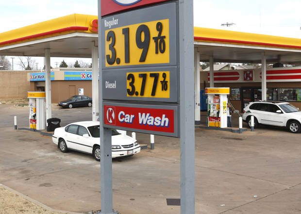 Gas prices are creeping back up, as evidenced by this sign at 63rd and Broadway Extension in Oklahoma City, OK, Friday, January 25, 2013,  By Paul Hellstern, The Oklahoman