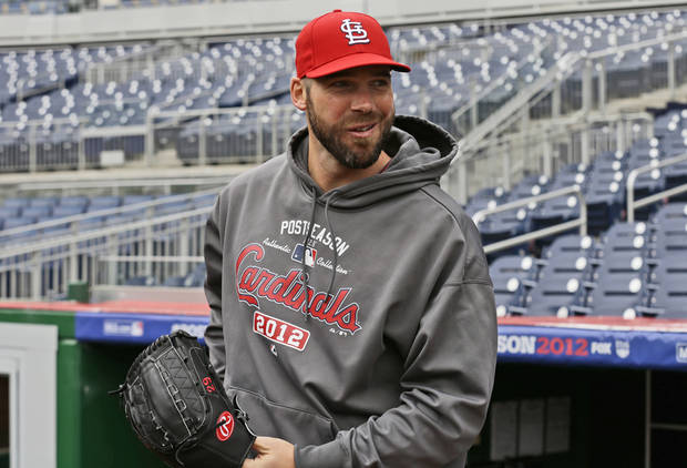 St. Louis Cardinals pitcher Chris Carpenter steps out of the dugout for batting practice at Nationals Park, Tuesday, Oct. 9, 2012, in Washington. Carpenter is scheduled to start Game 3 of the National League division series against the Washington Nationals on Wednesday. The best-of-five games series is tied 1-1. (AP Photo/Alex Brandon)