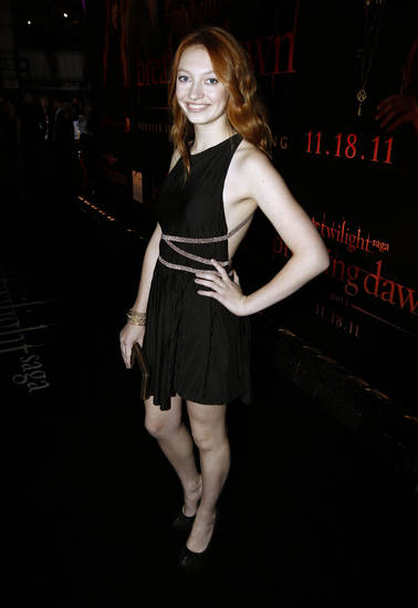 "Jaqueline Emerson arrives at the world premiere of ""The Twilight Saga: Breaking Dawn - Part 1"" on Monday, Nov. 14, 2011, in Los Angeles. (AP Photo/Matt Sayles) ORG XMIT: CASH206"