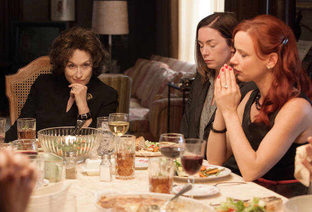 "This image released by The Weinstein Company  shows, from left, Meryl Streep, Julianne Nicholson and Juliette Lewis in a scene from ""August: Osage County."" Steve McQueen's historic saga ""12 Years a Slave,"" Jon Wells' dysfunctional family adaptation ""August: Osage County, Jean-Marc Vallee's early AIDS epidemic drama ""Dallas Buyers Club"" the White House servant tale ""Lee Daniel's The Butler"" top the list of outstanding performances for the 20th annual Screen Actors Guild Awards with three nominations each. (AP Photo/The Weinstein Company, Claire Folger)"