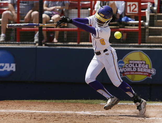 LSU's A.J. Andrews (6) fouls during a Women's College World Series game between Louisiana State University and the University of South Florida at ASA Hall of Fame Stadium in Oklahoma City, Saturday, June 2, 2012.  Photo by Garett Fisbeck, The Oklahoman
