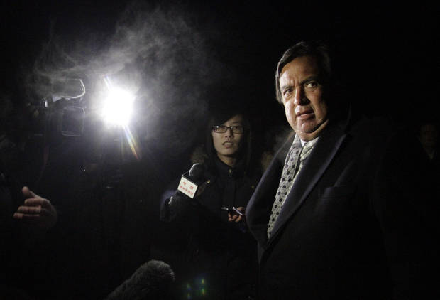 Former New Mexico Gov. Bill Richardson is interviewed by journalists after arriving at Pyongyang International Airport in Pyongyang, North Korea, Monday, Jan. 7, 2013. Richardson arrived in the North Korean capital with Executive Chairman of Google Eric Schmidt, and called the trip a private humanitarian visit. (AP Photo/Kim Kwang Hyon)